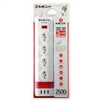 Filtro de Linha Mox MO-SL4320 com 4 Tomadas e 3 Portas USB - Branco