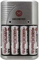 Carregador Mox MO-CB734 para Pilhas Recarregaveis AA/AAA com 4 Pilhas - Cinza (Bivolt)