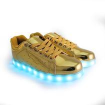Tenis LED 005 Dourado Numero 31