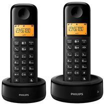 Telefone Sem Fio Philips D130 Duo D1302B/55 com Identificador de Chamadas - Preto
