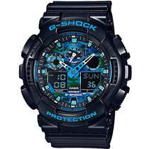Relogio Analogico/Digital Casio G-Shock GA-100CB-1ADR Masculino - Preto/ Azul Camuflado