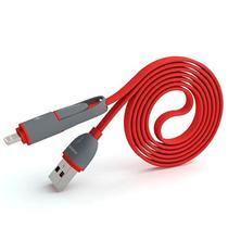 Cabo USB 2 Em 1 Lightning/Micro USB Pineng PN-301 de 1 Metro - Vermelho