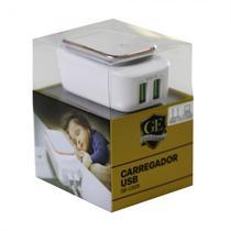 Carregador Gold Edition GE-C225 2 Portas USB V8 2.4A LED-Branco